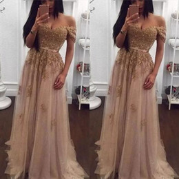 Champagne Lace Beaded Arabic Evening Dresses Sweetheart A-line Tulle Prom Dresses Vintage Off Shoulder Cheap Formal Party Gowns