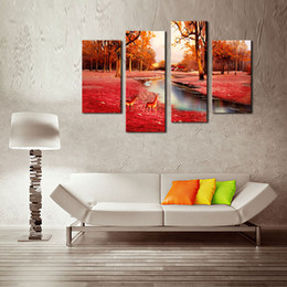 4 Panel Brown Wall Art Painting Deer In Autumn Forest Pictures Prints On Canvas Animal Picture For Home Decor with Wooden Framed