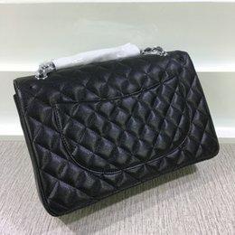 Promotion chaîne grand sac Haute qualité XXL Plaid Chain bag double sac Flap avec chaîne en or véritable balle Sacs en cuir à grande épaules