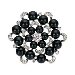 Multi-Pearl and Rhinestone Crystal Diamante Round Floral Wedding Brooch Prom Party Wedding Pins