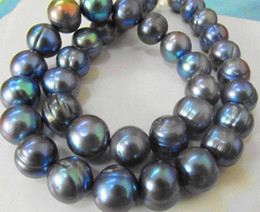 """NATURAL TAHITIAN 12-13MM BLACK BLUE PEARL NECKLACE 18"""" 14K YELLOW GOLD CLASP"""