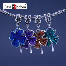 CasaPandora 4 Colors Silver-colored Four Leaf Clover Shape Pendant Fit Bracelet Charm DIY Enamel Bead Making Pingente Berloque Wholesale