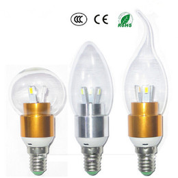 Wholesale New Arrival E12 E14 Led Light Candle Bulbs Transparent Cover Warm White Cold White W Led Spotlights AC V V