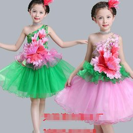 Pink Party Girls Jazz dance costumes Kids festival dancing dress Children Dance Dress Girl Ballet Dress Clothing Performance Outfits