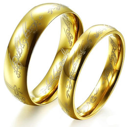 "Free Custom Engraving The Hobbit & Lord of the Rings ""One Ring to Rule Them All"" Couple's Stainless Steel Gold Personalized Wedding Rings"