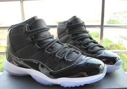 Wholesale TOP Quality Air Retro XI Space Jam Black Blue Heel Advanced Real Carbon Fiber Basketball shoes Version Size