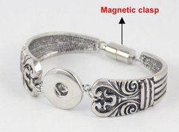 Wholesale 10Pcs alibaba aliexpress hot flower silver plated mm mm DIY interchangeable snap bangles for women Best Selling