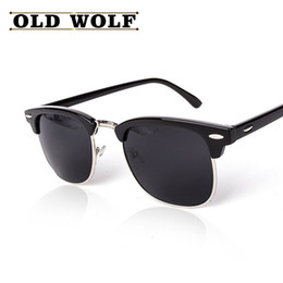 Espejo de cristal clásico en venta-Venta al por mayor-CLÁSICO medio metal polarizadas gafas de sol hombres mujeres marca diseñador rayos de revestimiento espejo de alta calidad gafas de sol Oculos De Sol