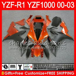 8Gift 23Color Body For YAMAHA YZF R1 YZF 1000 YZFR1 02 03 00 01 62HM17 YZF1000 R 1 YZF-R1000 YZF-R1 2002 2003 2000 Orange black 2001 Fairing