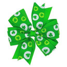 4.5inch ribbon hairbow St Patricks Day Headband - Green flower Shamrock - Green Clover Headband - Irish Headband Boutique Baby Girls Shamroc