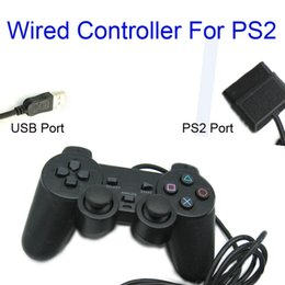 Joystick usb ps2 online-Black Wired Controller 1.8M Doble Shock Mando a distancia joystick Gamepad Joypad PS2 Puerto / Puerto USB para PlayStation 2 PS2