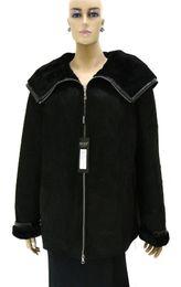 Manteau en cuir véritable pour femme avec capuche décapotable en agneau corsé à partir de lignes de capot fabricateur