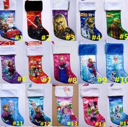 Wholesale Christmas Stockings Tree Party Decorations D Cartoon Frozen Princess Elsa Anna War Xmas Socks Children Kids Candy Pockets Gift Bags