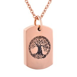 Cremation Urn Pendant Necklace 316L Stainless Steel Blank Tag Tree of Life Ash Urn Necklace