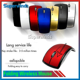 Wholesale Folding GHz USB Optical Wireless Mouse USB Receiver gaming mouse Sleep Energy Saving Mice for Computer Tablet PC Laptop Desktop by DHL