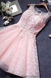 Pink Full Lace Short Prom Dresses with Appliques Crystal Knee Length Evening Party Dresses Sheer Jewel Neck Lace Up Homecoming Dresses