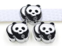 Wholesale - 50pcs lot 8mm Panda Slide Charms Fit For 8MM DIY Pet Collar Leather Bracelet Wristband