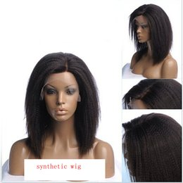 Wholesale Short Kinky straight glueless lace front wig off black brown blonde side part quot more baby hair inch fiber add heat
