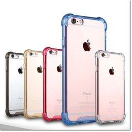 Wholesale Transparent Shockproof Acrylic Hybrid Armor corners Bumper TPU Frame Back PC Hard Case Clear cover for iphone s Plus Samsung