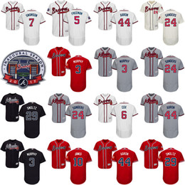 Wholesale men s Dansby Swanson Freddie Freeman Chipper Jones Murphy Hank Aaron Deion Sanders Atlanta Braves Authentic Baseball Jerseys S XL