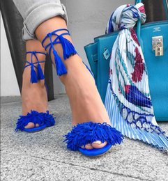 Wholesale Stiletto Heels Sale - Hot On Sale Classical Summer High Heels Suede Leather Fringe Shoes Woman Tassel Lace Up Sandals Free Shipping