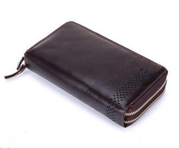 wholesale NEW Genuine Leather Men wallets purse men Fashion zipper clutch wallets card holder men's purses wallet leather hand bags