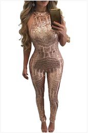 Descuento las mujeres atractivas de oro Pantalones largos sin mangas de la nueva del verano del verano de las señoras de la manera del satén del oro atractivo de los mamelucos 2017