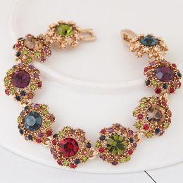 Compra Online Cristales checo pulseras-Oro plateado checo cristal piedra encanto pulseras para las mujeres cristal círculo perlas pulseras brazaletes Pulseras nueva joyería