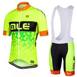 2017 team pro ale cycling jersey bib shorts set fluor ALE summer Sportswear Mountain Bike clothing Ropa Ciclismo MTB Bicycle Wear DBA08