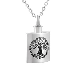 IJD9804 Bottle 316L Stainless Steel Pendant Necklace High Polish Tree of Life Engraved Cremation Urn Necklace