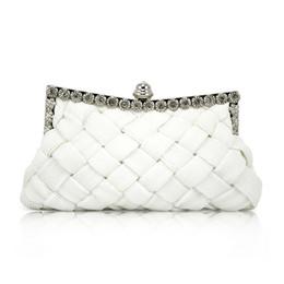 Compra Online Monederos de las señoras regalos-Bolso nupcial del monedero del bolso del embrague del baile de fin de curso del satén blanco de las señoras elegantes de Wholesale-AUAU