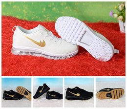 Wholesale 2017 Max Kids Running Shoes For Mens Womens Fashion Sneakers Athletic Sports Jogging Outdoor Training Black Gold Breathable Air Shoes