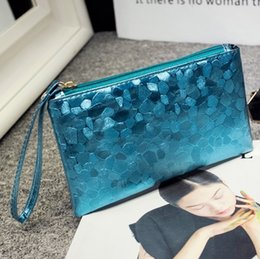 Wholesale Cosmetic Bags Cases Top Quality Make Up Bag Stone Lines Glossy Coin Purse Silver Fashion Wallet Purple