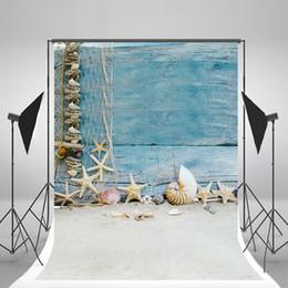 Descuento fondos de verano 5x7ft (150x210cm) Fondo de la foto de la playa del verano Fondo azul de la concha de madera de madera de la concha para los accesorios de la fotografía de los niños