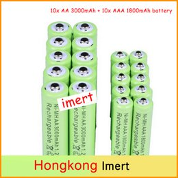 Wholesale Hot x AA mAh x AAA mAh V NiMH Green Color Rechargeable Battery Cell A A For Flash Light Toys Battery