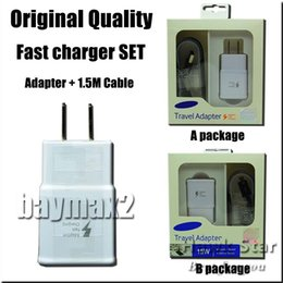 Wholesale For Samsung Original quality fast charger set Adapter USB cable in charging Wall Plug set UK US EU With retai box
