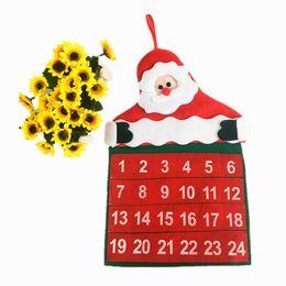 Wholesale 2016 Christmas Calendars Fabric Xmas Advent Countdown Calendar Fun Christmas Santa Claus Decorations JF