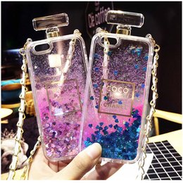 Wholesale For iphone7 s s Creative Tassel Perfume Bottle Lanyard Phone Case Love Liquid Quicksand Perfume Bottle Case with Opp Package