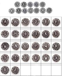 Vente en gros 26pcs Lots initiale A-Z Alphabet lettre Metal Alloy 18MM Ginger Snap boutons pour Snap Chunk Charm bouton Bracelet DIY Snap bijoux à partir de bracelets de charme initiales fabricateur