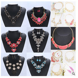 Wholesale 25 deisgns DHL free Bridal pendant Necklaces zircon chain earrings necklace sets high end Fashion Bohemian Bikini Beach women jewelry gifts
