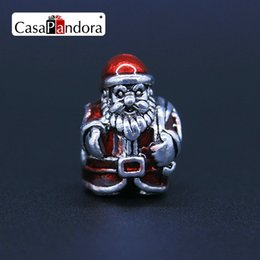 CasaPandora Silver-colored Christmas Santa Claus Shape Fit Bracelet Charm DIY Enamel Bead Jewelry Making Pingente Berloque Wholesale Price