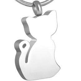 IJD8181 Free Shipping Silver Tone Stainless Steel Lovely Cat Cremation urn necklace Keepsake Holder Ashes Jewelry for Pet Lovers