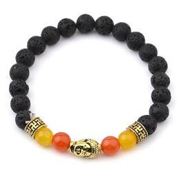 Wholesale Muti color Mens Bracelets Black Lava Volcanic stone Buddha Balance Beads Bracelet For Women Reiki Prayer Yoga Bracelet Stones