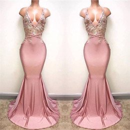 2018 Pink Lace Appliques Sexy Prom Party Dress Sleeveless Mermaid Spaghettis Strap Long Backless Evening Gowns