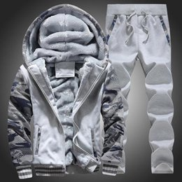 wholesale-Man's Hoodies Pants Suit Clothing Man's Winter Velvet Hoodie Men Print Hooded Jacket Coats Long Sleeve and Long Pants Tracksuits