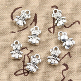 Wholesale Cents Charms teddy bear mm Antique Making pendant fit Vintage Tibetan Silver DIY bracelet necklace