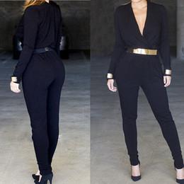 Las mujeres atractivas de oro en Línea-2017 Primavera Womens Gold Belt Rompers Jumpsuits Sexy V profundo cuello negro manga larga Bodycon Body Macacao femenino Skinny Playsuit Monos