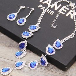 Wholesale In Stock Royal Blue Rhinestone Crystal Wedding Bridal Jewelry Earrings Amazing Bridal Jewelry Sets For Prom Party Jewelry