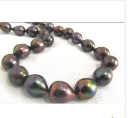 12-13mm tahitian black red green pearl necklace 20inch 14KG