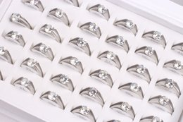 Wholesale 36Pcs mix lot Size Unisex Plated Stainless Steel ring Party rings Set auger Rings weding ring Valentine's Day Gift Free Shipping